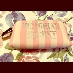 BNWT VS makeup bag pink stripes